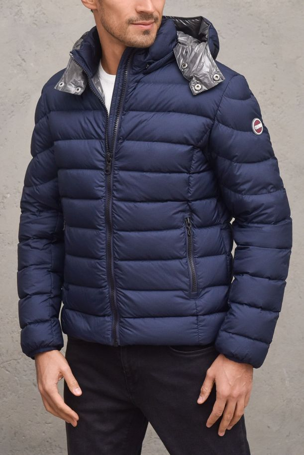 Men's quilted downjacket removable hood blue. 1264R68
