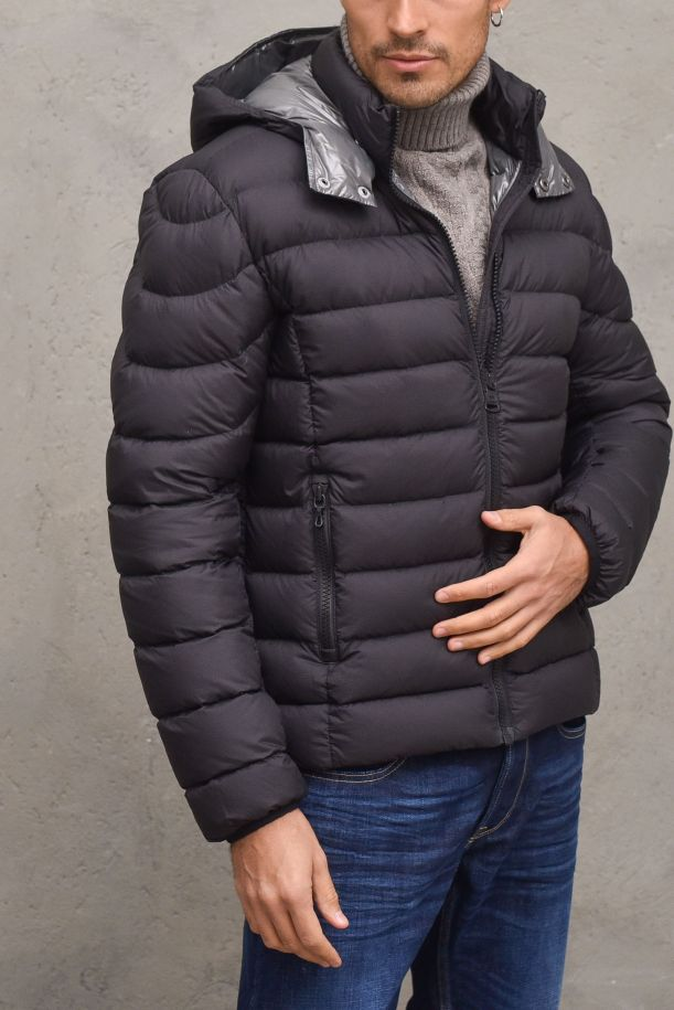 Men's quilted downjacket removable hood nero. 1264R99