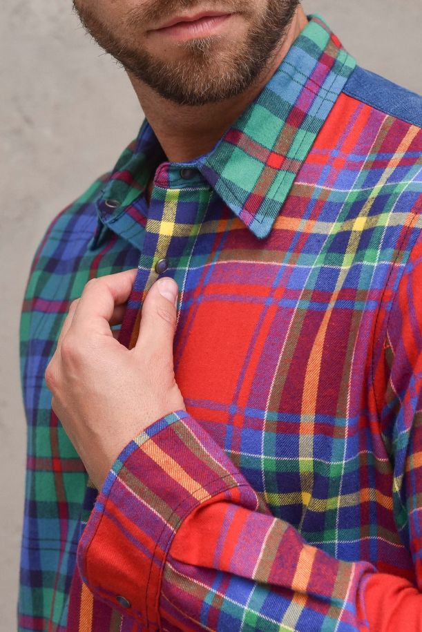 Men's shirt with patchworks multicolor. RO2021MULTICOLOR