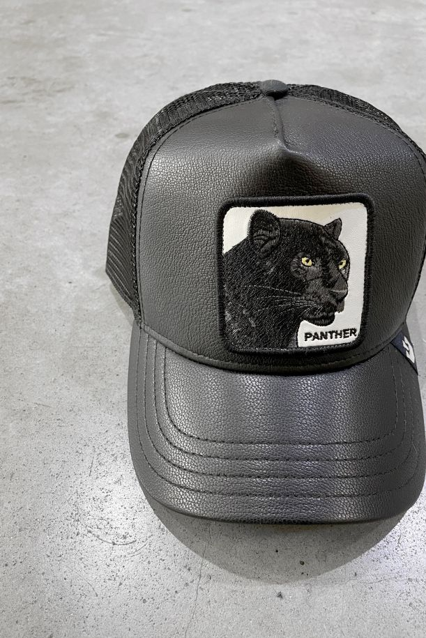 Men's hat Panther leather. 101-0846-BLACK-OSNERO