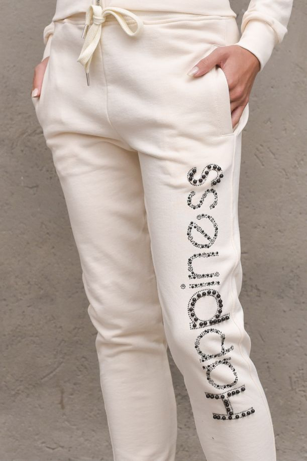 Men's fleece trousers logo with application. CLASSIC_SSI21BMILK