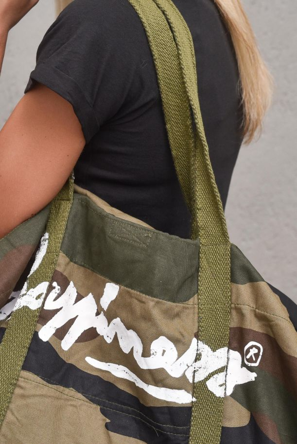 Unisex military bag with logo. I21_ARMY3953MILITARE