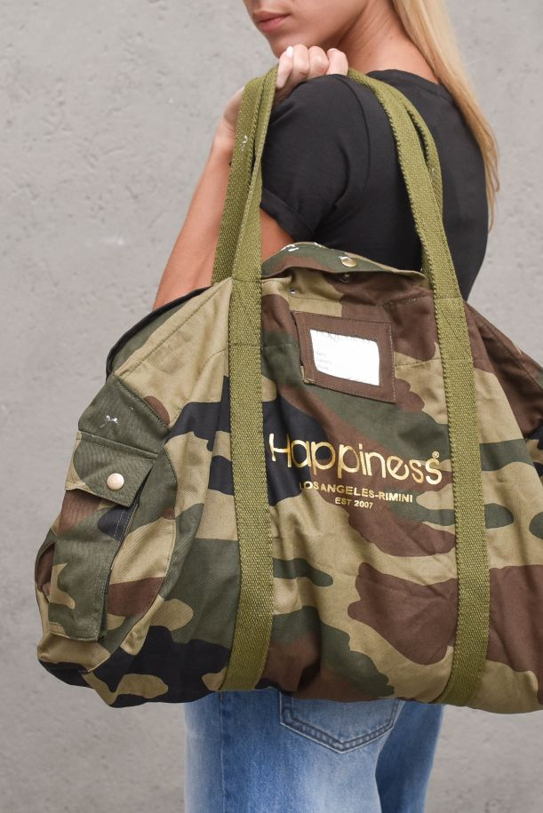 Unisex military bag with stamp. I21_ARMY3969MILITARE