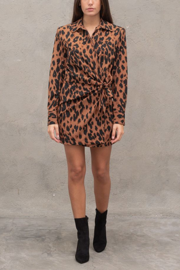 Women's side knot dress spotted. AB9KCLFMACULATO