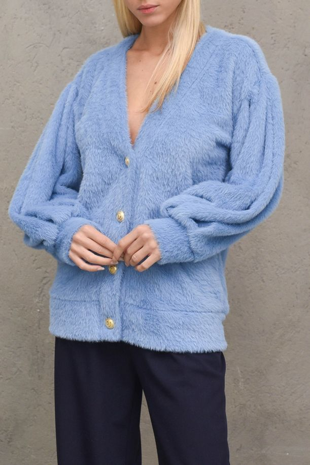 Women's open fur sweater with buttons. M9990022MPOLVERE