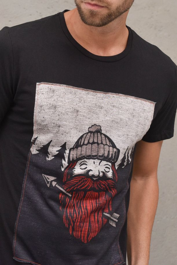 Men's t-shirt with patch arrow stamp. FK-11712CANERO