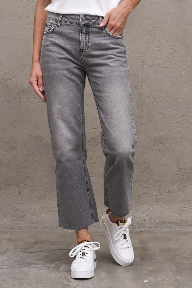 Women's jeans pant flaire cropped grey. 2S203GREY