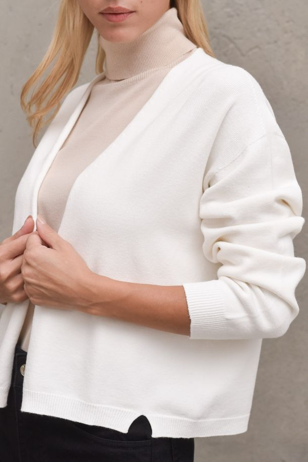 Women's open knit cardigan off white. 3M8325OFF WHITE