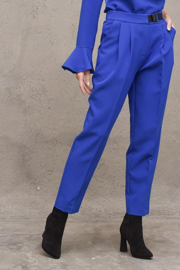 Women's high waisted pans with pinces. NO124BLUETTE