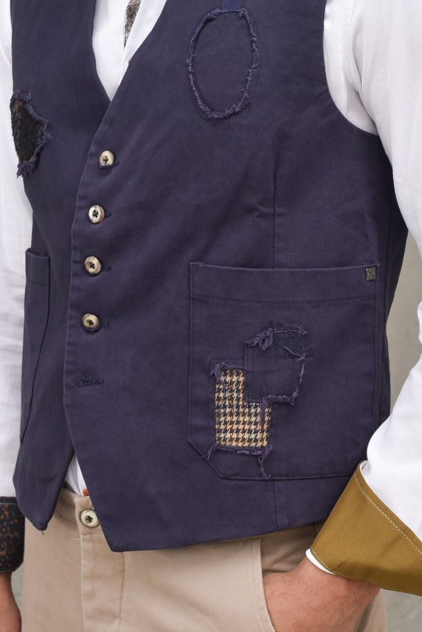 Men's patchwork and embroidery gilet blue. BARN- D-CM30BLU