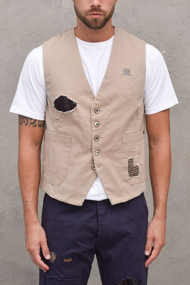 Men's patchwork and embroidery gilet mud. BARN- D-CM30FANGO