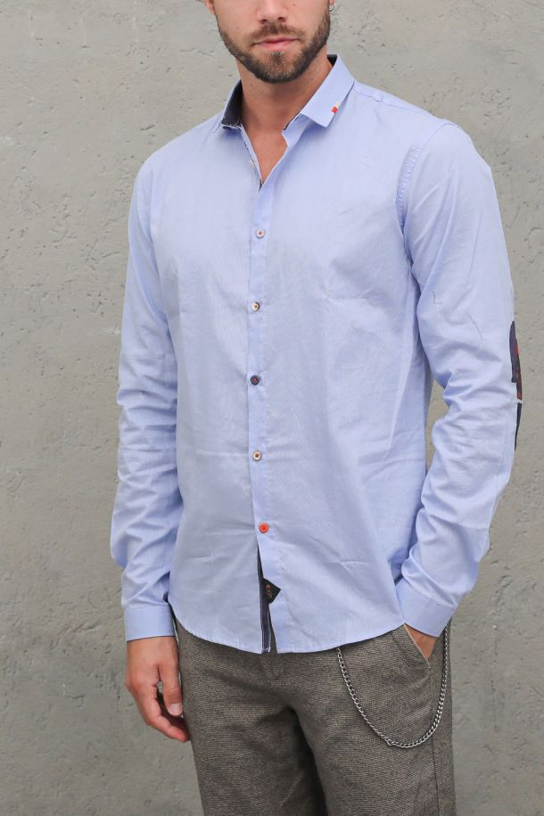 Men's embroidered shirt multicolor buttons with patches blue. BUS-BS80CELESTE