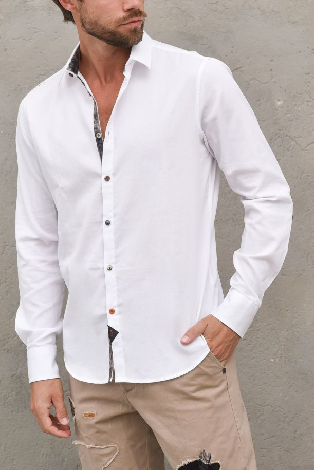 Men's shirt with puzzle pattern white. DEMI-BS77BIANCO