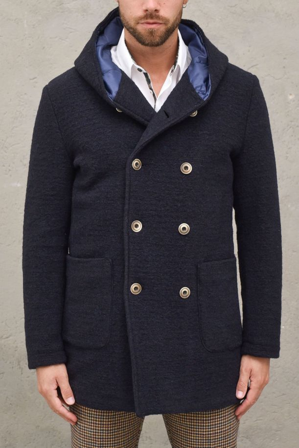 Men's double breast with hoodie blue coat. ERO-SMBLU INTENSO