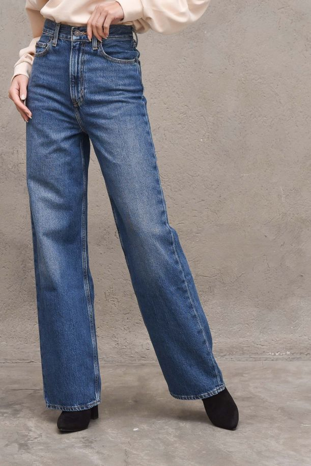 Women's high waisted palazzo jeans pants. JEANS HIGH LOOSE268720010SHOW OFF - BLU