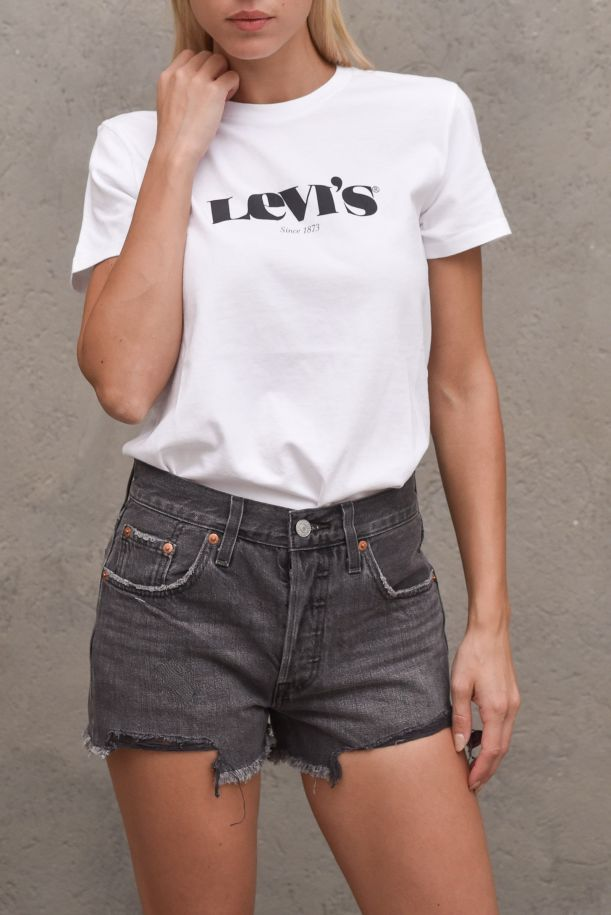Women's roundneck t-shirt with logo stamp white black. THE PERFECT TEE173691249WHITE