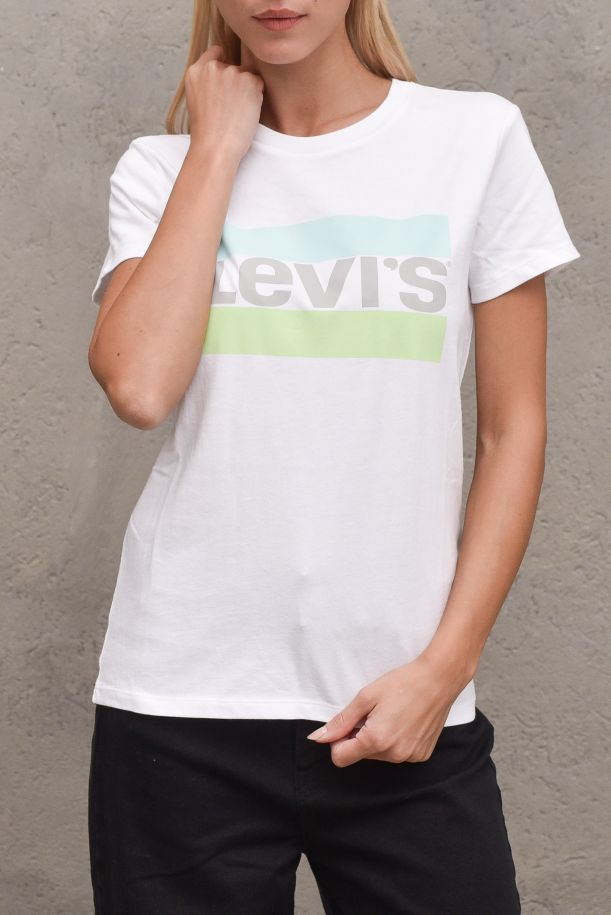 Women's t-shirt with logo stamp water lime. THE PERFECT TEE173691617WHITE - BIANCO