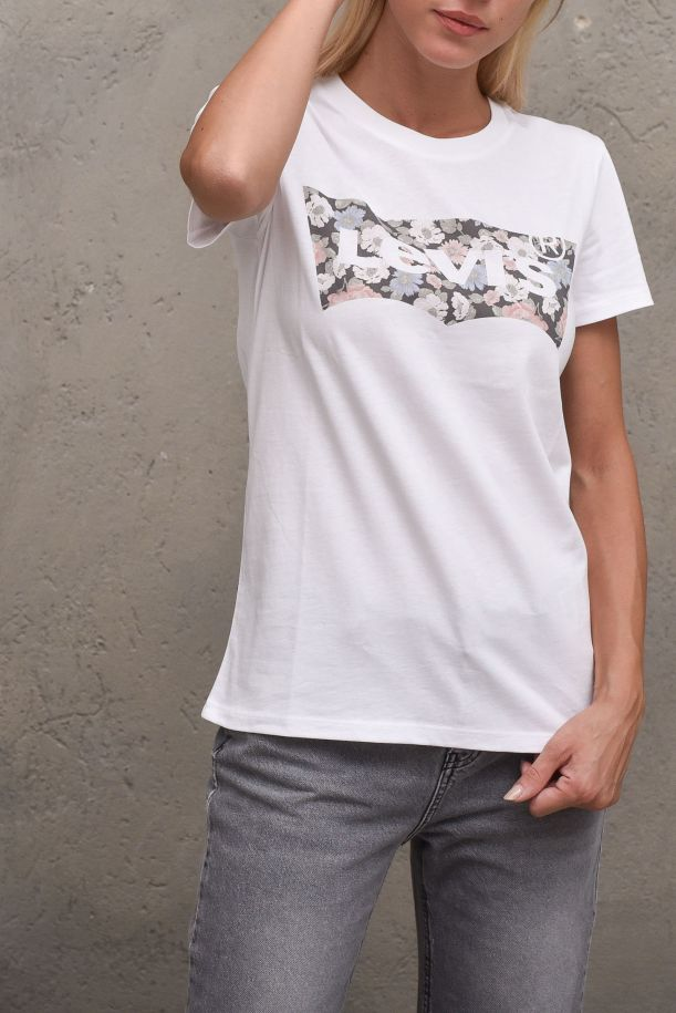 Women's roundneck t-shirt floral logo white. THE PERFECT TEE173691635FLORAL WHITE - BIANCO