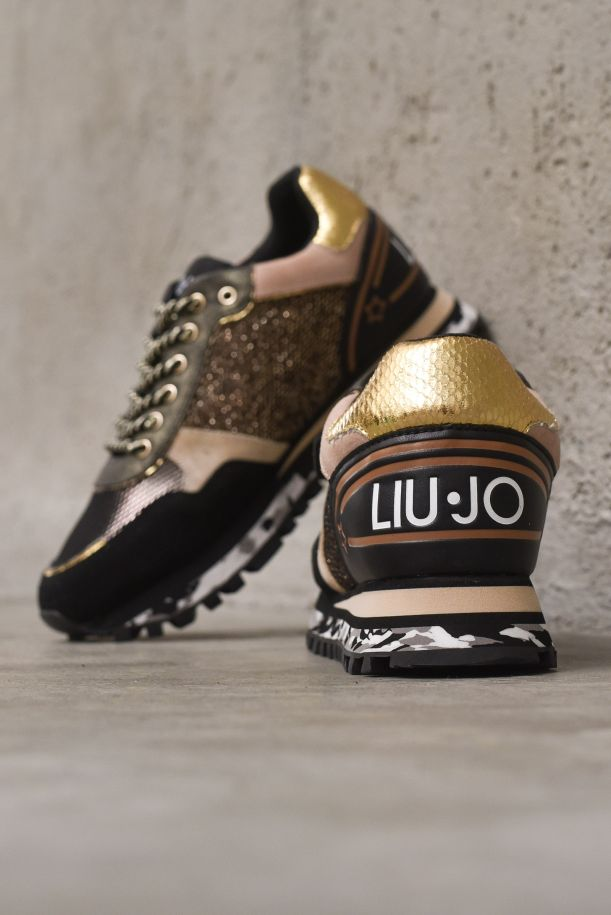 Women's sneaker shoes high soles camouflage with logo. BF1047TX040BLACK/GOLD