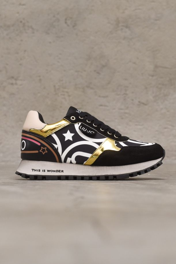 Women's sneaker shoes high soles with logo. BF1047TX040BLACK/GOLD