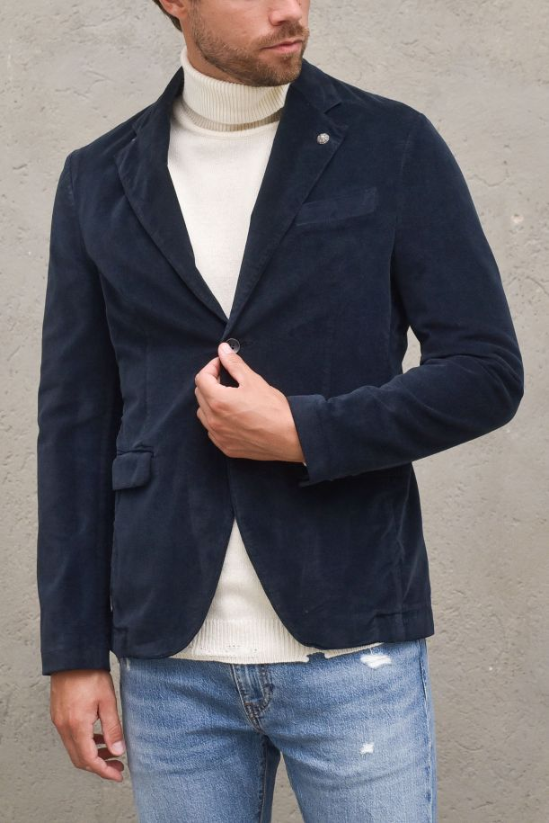 Women's jacket double buttons and pockets blue.BEPPE1049SBLU