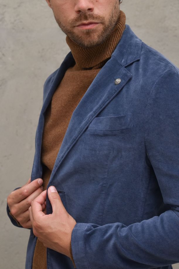 Men's jacket double buttons and pockets light blue.BEPPE1049STAMPONE