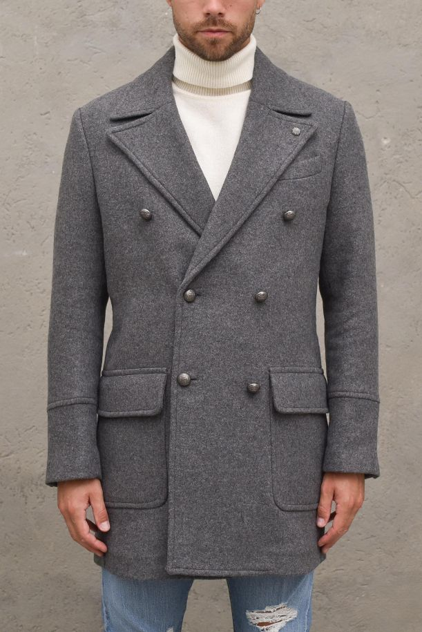Men's double breasted coat lapel anthracite. KEVIN4867ANTRACITE