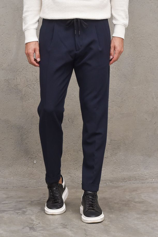 Men's pants with lace and pinces blue. OF1F2W1P009BLU