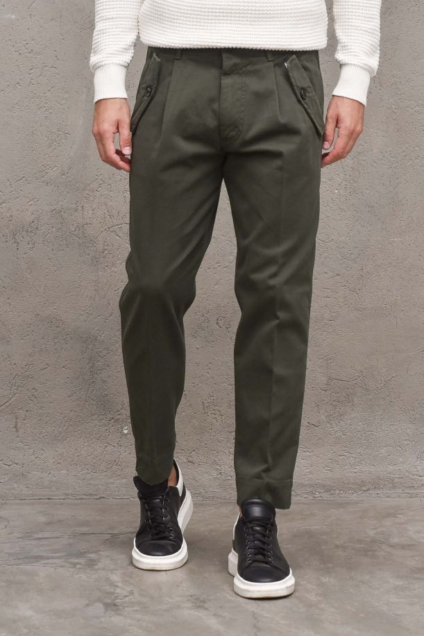 Men's pants with pinces and pockets. OF1F2W1P036GREEN WOOD