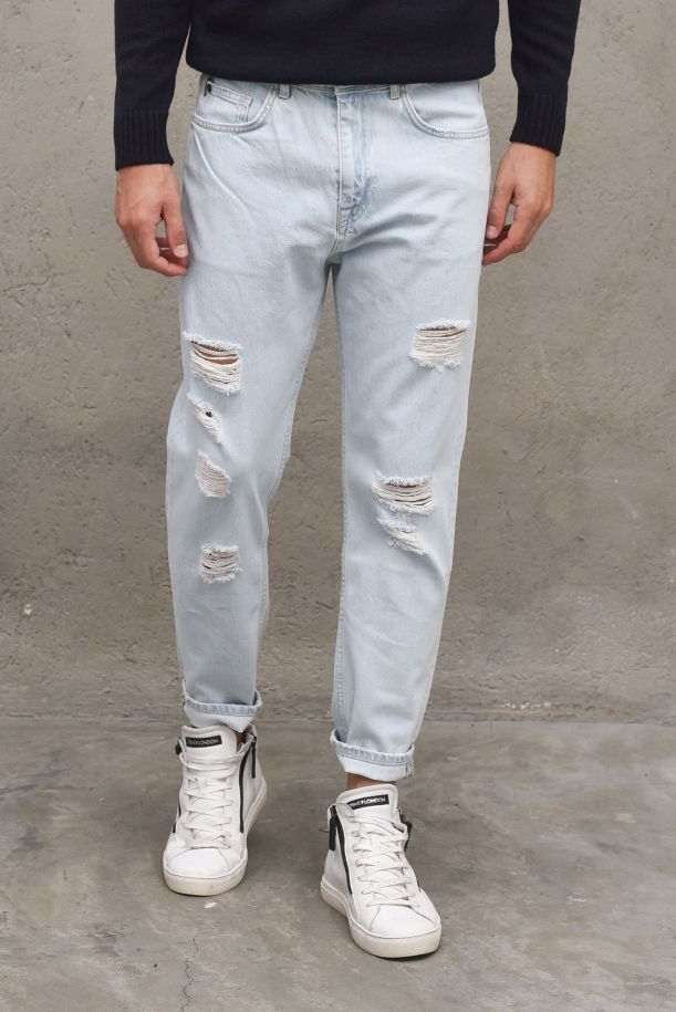 Men's jeans pants cropped fit and tears. CROPPED2346DENIM CHIARO