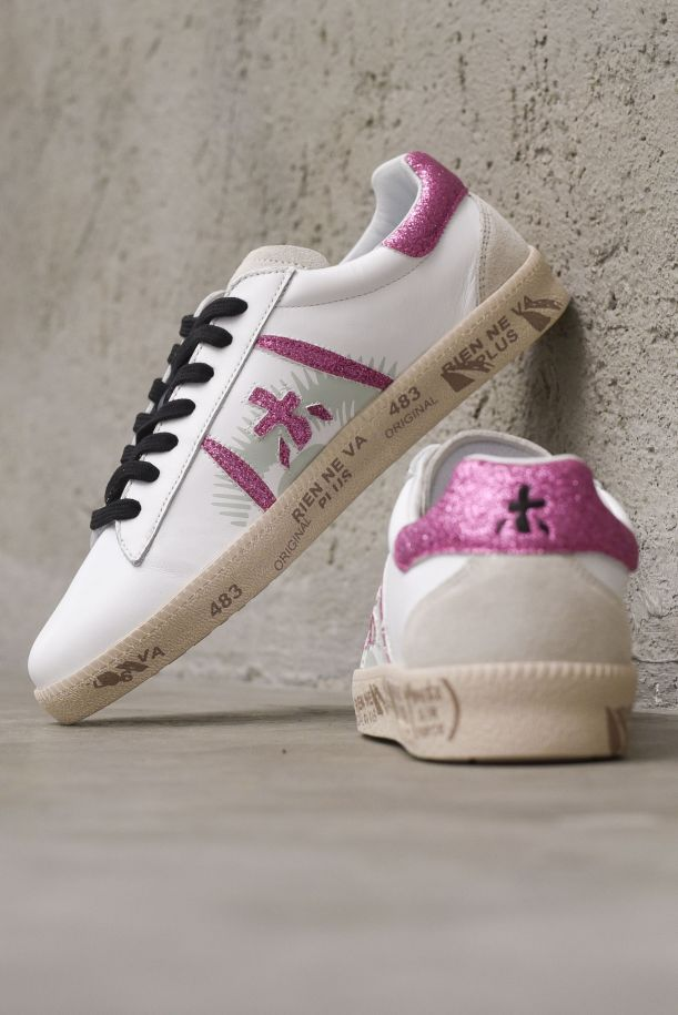 Women's sneaker shoes Andy logo glitter white fuxia. ANDY-D5426FUXIA GLITTER