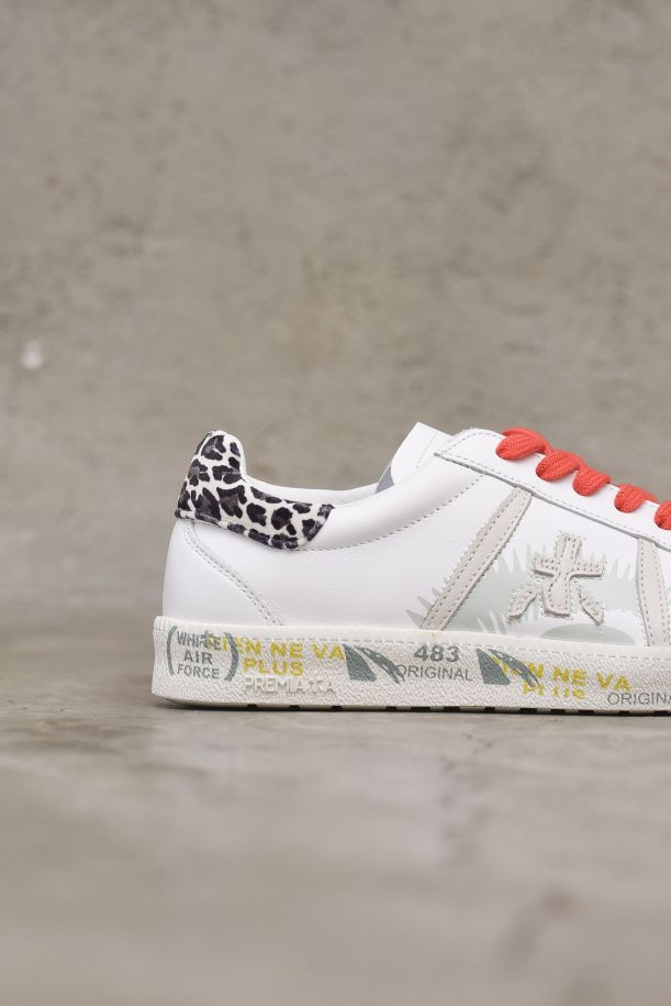 Women's sneaker shoes Andy leopard white red. ANDY-D5427LEOPARDATO/ROSSO