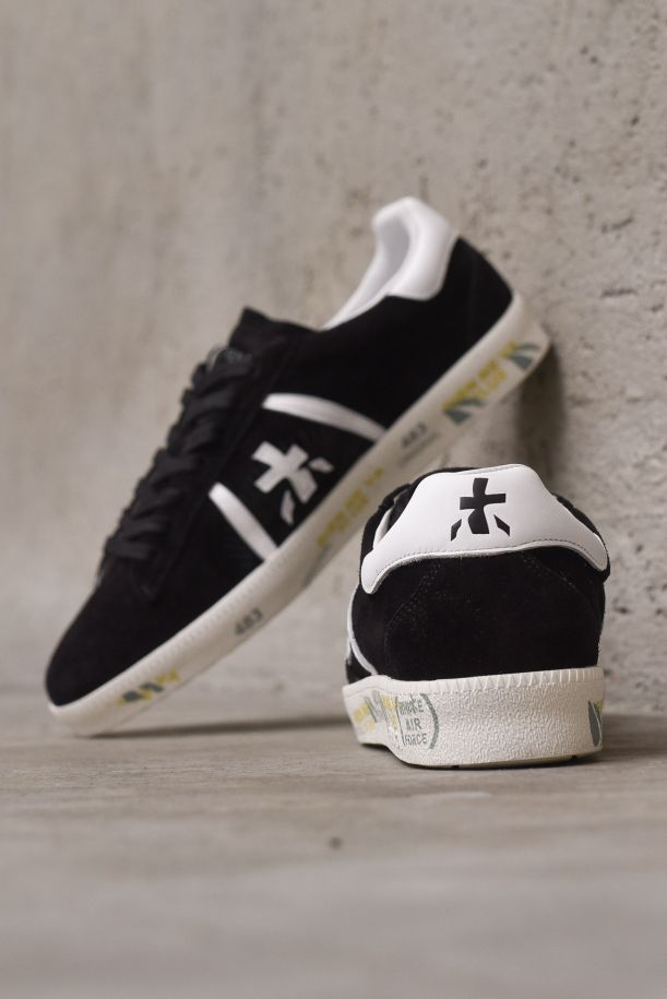 Men's sneaker shoes Andy in leather. ANDY5482NERO/BIANCO