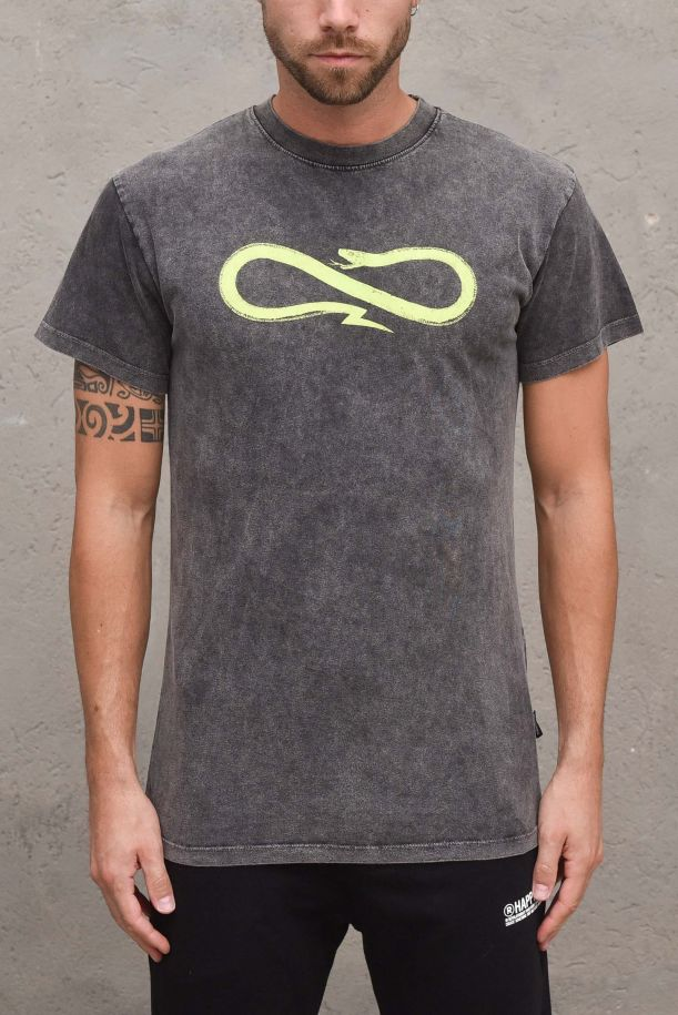 Men's stone washed with logo t-shirt. 21FWPRTS402GRIGIO