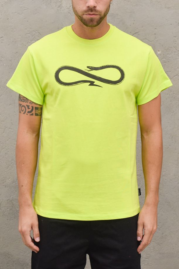 Men's double stamp t-shirt. 21FWPRTS403LIME