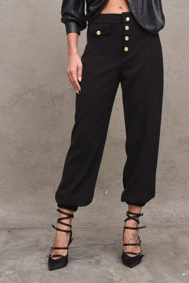 Women's pants Cattles high waisted gold buttons. RDA2107006048NERO