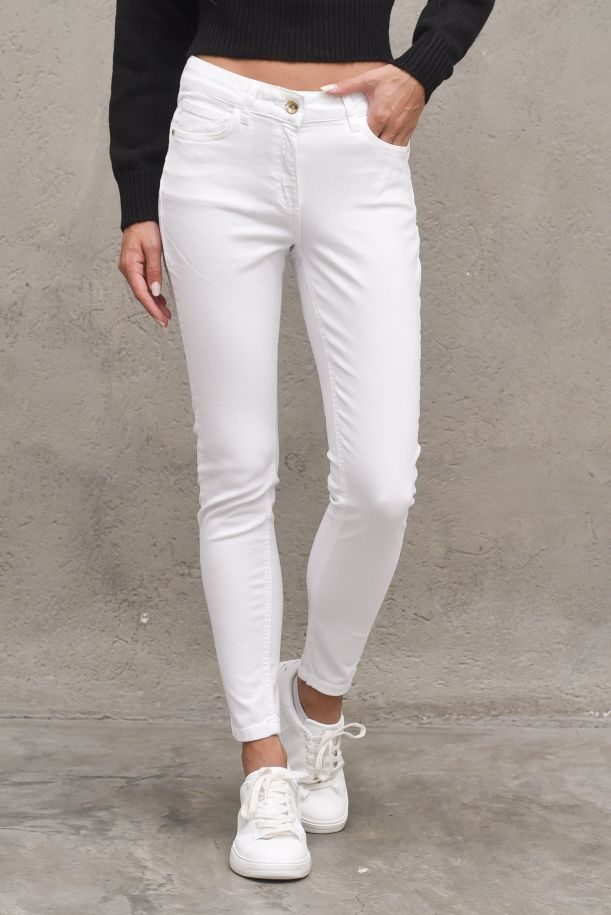 Women's jeans pants floora color push up embroidered logo. RDA2107016039MILK
