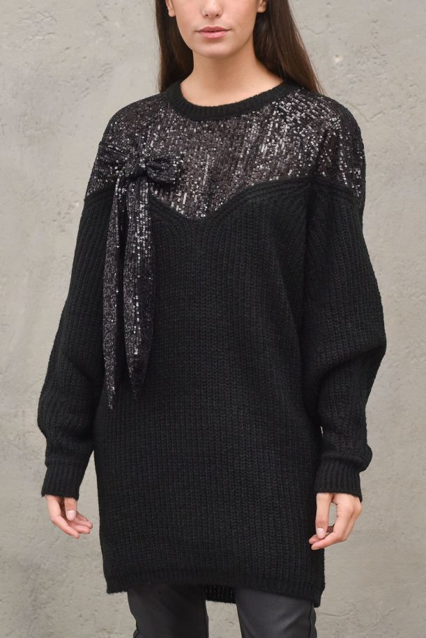 Women's long knitted sweater with paillettes. RDA2109595023NERO