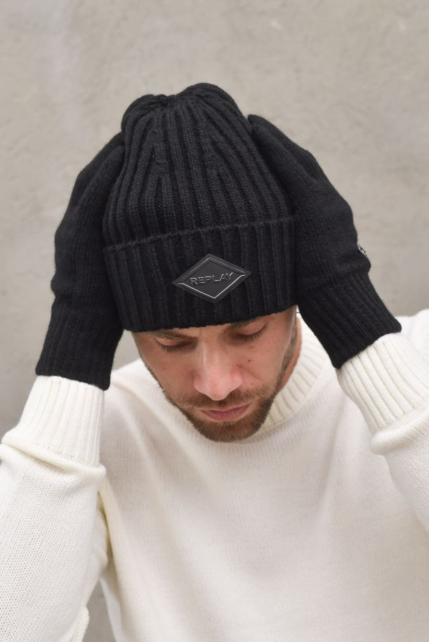Men's glove and ripped cap with logo. AM8022.001.A7003NERO