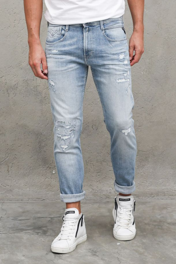 Men's jeans pants with tears embroidered Anbass light blue. M914Y.000.141 908 DENIM CHIARO