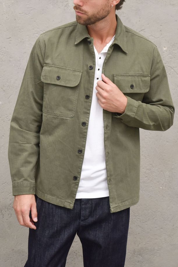 Men's shirt with pocket military green. 16080840FOREST NIGHT