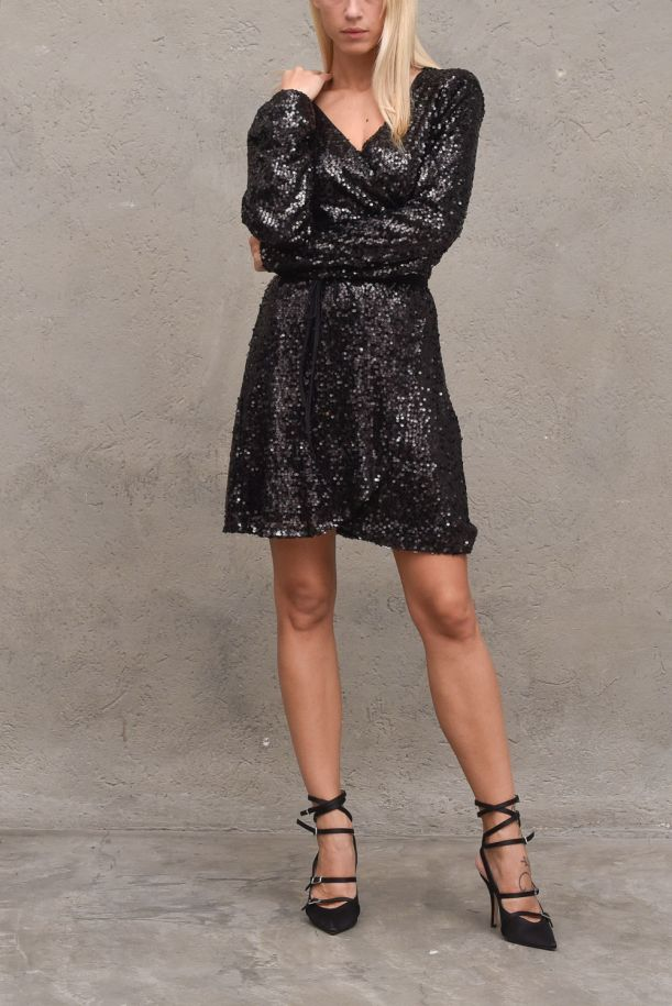 Women's dress with paillettes crossed. OMD109H127NERO