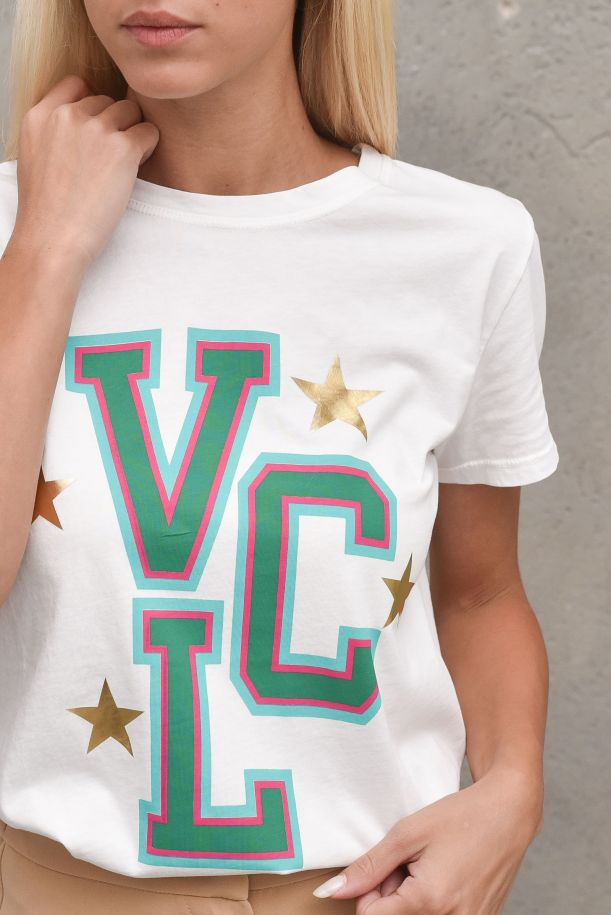 Women's t-shirt with logo printed white. RX0088PANNA