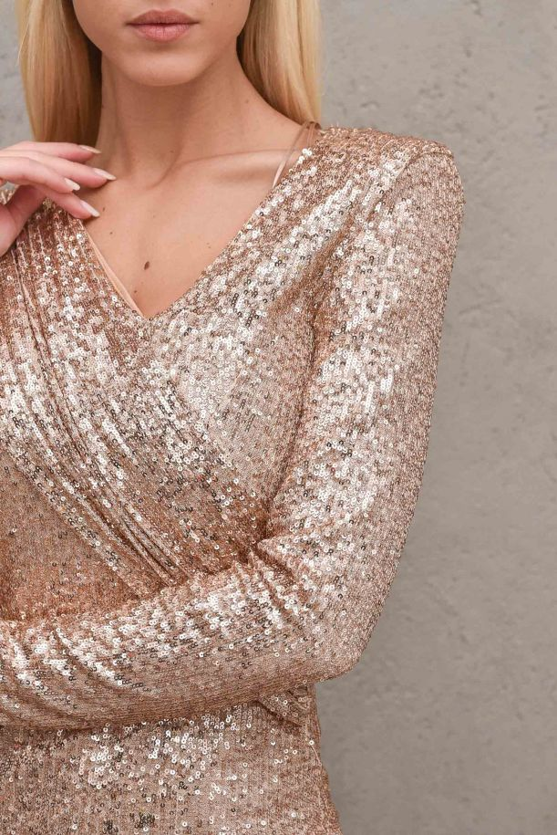 Women's long dress with paillettes. TX0324ORO ROSA