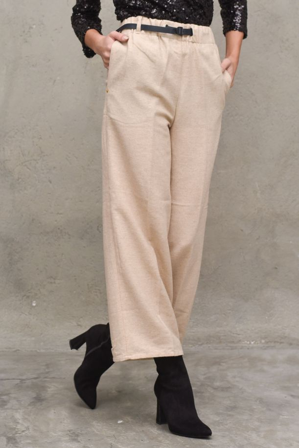 Women's high waisted pants with lace and belt. 21WD1431920 BEIGE
