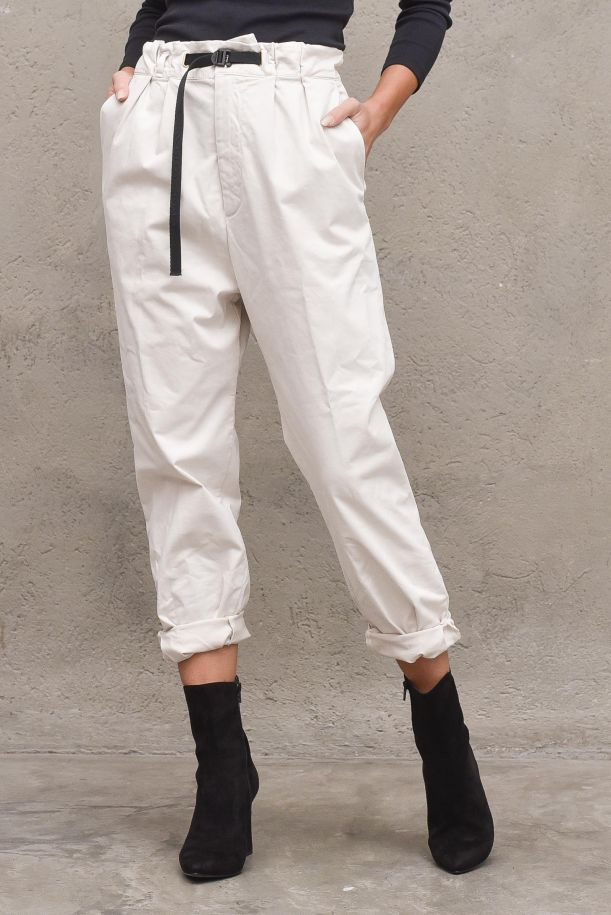 Women's pants with lace high waisted. 21WSD090604 OFF WHITE