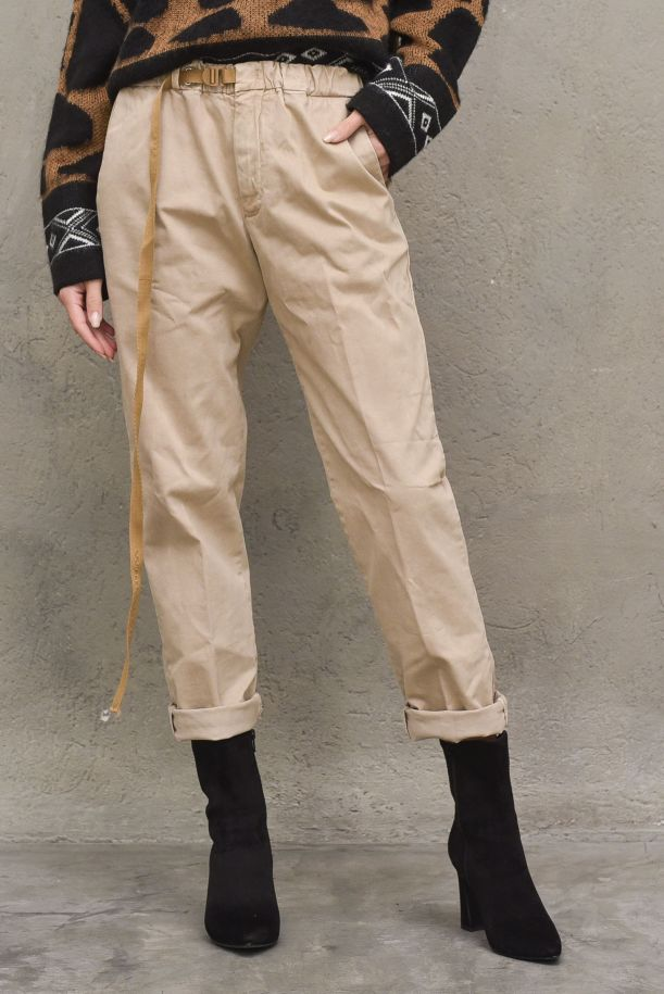 Women's high waisted pant with lace. 21WSD160520 BEIGE