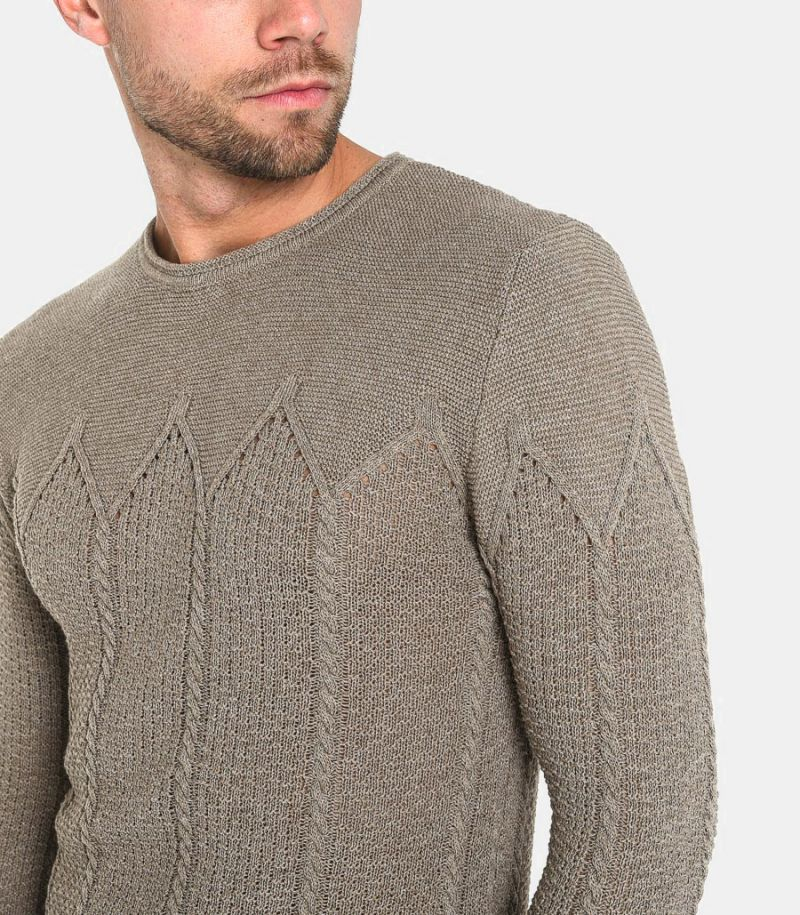 Men's worked sweater clay.TORN