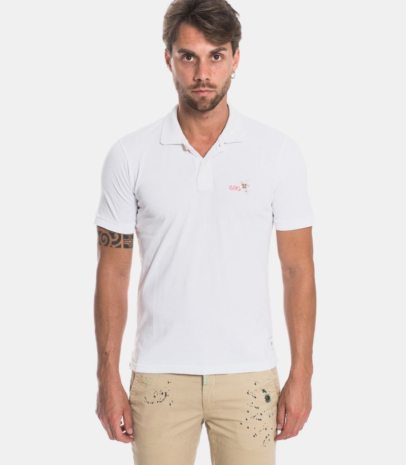 Men's hand painted polo white