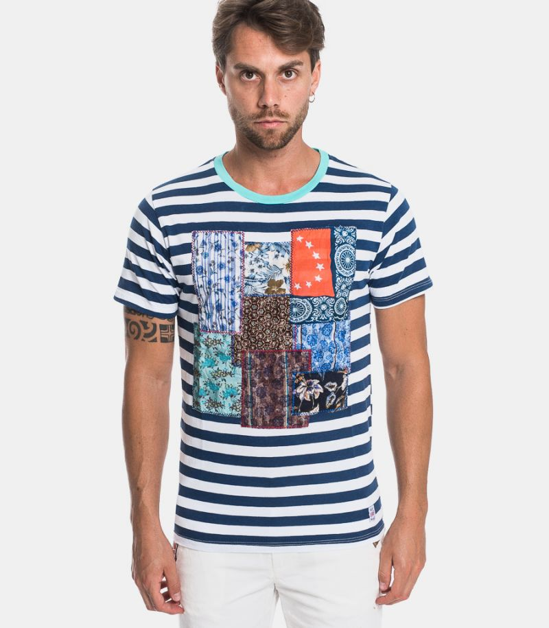 Men's pistriped and patch t-shirt